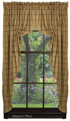 """https://www.facebook.com/pages/Allysons-Place/122777051071722  Burlap Check Window Prairie Curtain 347-PRC   Prairie curtain made from a window pane design fabric has a total width of 72"""" and length of 36"""".  The header and a 2"""" rod pocket are included in the overall length.   http://allysonsplace.com/catalog.php?item=5049"""