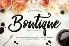 Boutique Script + PSD Styles by MakeMediaCo. on Creative Market #font #script #handletter