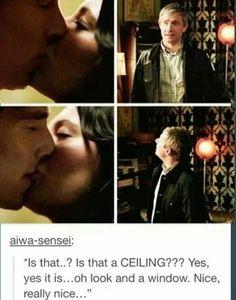 John Watson's reaction to Sherlock kissing someone