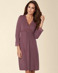 $66 - Belabumbum Eva Long Sleeve Nursing Sleepshirt Smoked Plum