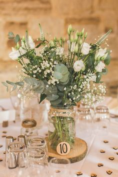 Jar Flowers Centrepiece Table Log Greenery Foliage Rustic Outdoor Summer Wedding Pet Pug http://kirstymackenziephotography.co.uk/