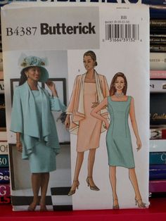 2004 Butterick #4387-Dress-Fitted, Sleeveless, Knee-Length, Back Slit-JACKET-Loose-Fitting, Three-Quarter Sleeve-Size 8-10-12-14-UNCUT by PaperDiversities on Etsy