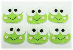 6 pcs of Handmade Felt Frogs Appliques ASR032 by craftfactory, $6.00