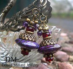 LAMPWORK GLASS BEADS Earrings --  Donna Millard sra purple amethyst grape orchid green olive boho bohemian urban via Etsy