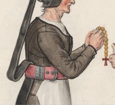 Lucas de Heere, detail of an old woman with oversize world champion of rosary praying belt. Also this grand assiette seaming setup is very fascinating! (Whoever captioned this is by hero)