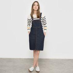 Denim Regular Size Sleeveless Dresses for Women Denim Pinafore, Pinafore Dress, Short Mini Dress, Short Dresses, 1950s Inspired Fashion, Mademoiselle, Mini Shorts, Overall Shorts, Clothing Patterns