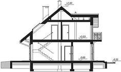 Przekrój pionowy projektu Armanda Mała Malaga, Utility Pole, House, Arquitetura, Home Plans, Home, Homes, Houses