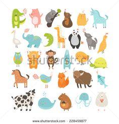 Cute animals collection. Vector pig, rabbit, monkey, lion, sheep, bird,goose, panda, koala, chicken, fox, cow, jellyfish, cat, hen, dog, fox, elephant, crocodile, unicorn, giraffe, owl, turtle, horse - stock vector