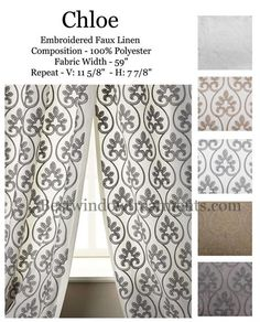 Chloe Curtain Drapery Panel Available In 5 Colors : Embroidered Linen Blend  : Options For Lining