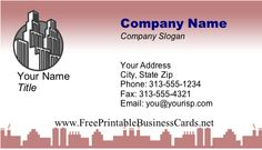 Great for those working amid skyscrapers in the big city, his business card displays the tall high rises of cities such as New York and Chicago in a rose pink bottom border. Free to download and print