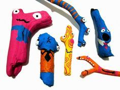 Close Up -- paint strange-shaped sticks for funny toys -- cheap + easy playthings