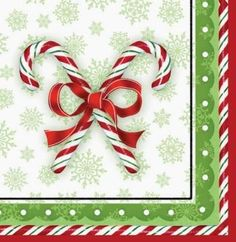 Creative Converting 666910B 36 Count Candy Cane Bliss Paper Lunch Napkins $6.89