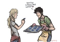 I can't remember if he ever explained the blue food to Annabeth... I feel like she knew, but she didn't know the backstory. I dunno I have a headcannon though that when he makes her blue food for the first time he tells her actually what went up.. But y'know my memory is faulty..