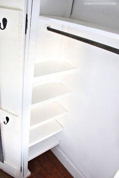 A DIY tutorial to install easy closet shelves. Make your closet functional and organized with simple shelves you can install. Diy Closet Shelves, Closet Redo, Entryway Closet, Kid Closet, Master Closet, Closet Bedroom, Closet Storage, Storage Shelving, Attic Storage