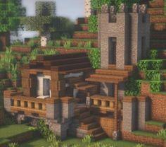 Minecraft House Plans, Minecraft Farm, Minecraft Cottage, Cute Minecraft Houses, Minecraft House Designs, Minecraft Survival, Minecraft Construction, Minecraft Blueprints, Cool Minecraft