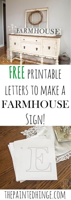 have stencils or a stencil cutting machine? No problem! Just use these free printable letters to make a farmhouse sign!Don't have stencils or a stencil cutting machine? No problem! Just use these free printable letters to make a farmhouse sign! Painted Wood Signs, Wooden Signs, Country Wood Signs, Deco Scrabble, Farmhouse Signs, Farmhouse Decor, Farmhouse Font, Farmhouse Buffet, Rustic Decor