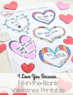 School Time Snippets: I Love You Because...Valentines Fill-in-the-Blank Printable. Pinned by SOS Inc. Resources. Follow all our boards at pinterest.com/sostherapy/ for therapy resources.
