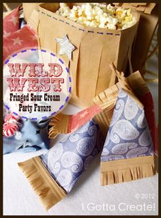 I Gotta Create!: Western Fringe Sour Cream Party Favors with links at bottom of tutorial for crafts to complete the western theme