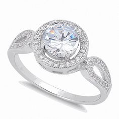 Gorgeous 1.3ct  Halo  Gorgeous 1.3ct  Halo Engagement Infinity Ring Sterling Silver, Size 7