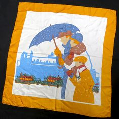 Vintage 1960s Liberty of London Hand-Rolled Silk Scarf Impressionist Art Family #LibertyofLondon #Scarve