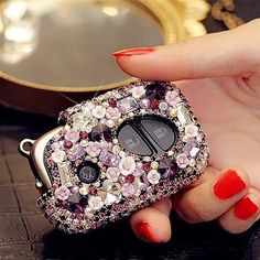 Purple Bling Car Key Holder with Rhinestones and flowers for Lexus ES240 RX350 270 IS250 GS300