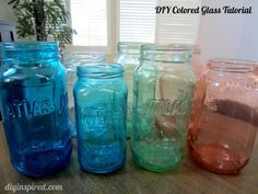 DIY Colored Glass Tutorial ~ Make your own colored jars to use to store items or use to put a gift inside.