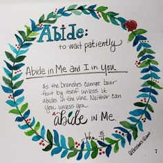 Sketchnote Summer Camp - our theme was to rest and abide in the Lord so we doodled a wreath- abide = #sktechnoteboss  #john15:14 #abideinme #abide  #abideinchrist,  #sermonsketcnotes, #sketchnotes, Abide In Christ, John 1 5, Sketch Notes, Drawing People, Doodles, Drawings, Summer, Rest, Lord