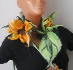 felted necklace / brooch / sunflower/ flower by RozalkaFeltAndWool