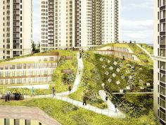NL Architects residential towers and shopping center