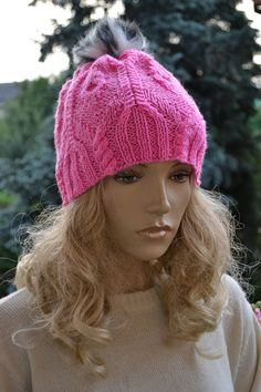 Knitted pink cap/hat  FUR POMPOM by DosiakStyle on Etsy