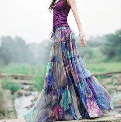 Summer Floral Chiffon Long Skirt