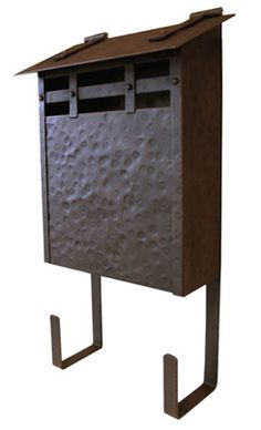 wall mount hammered copper mailbox, oxidized