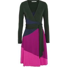 Diane von Furstenberg Marsha color-block jersey-crepe wrap mini dress ($212) ❤ liked on Polyvore