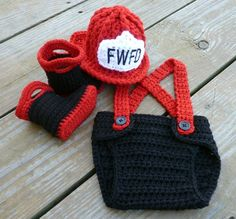 Cute! Crochet firefighter baby nappy cover, hat & booties.