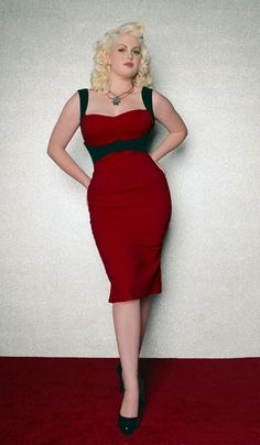 The Jessica Wiggle Dress in Burgundy with Black Trim by Pinup Couture - In Sizes XS to 2X