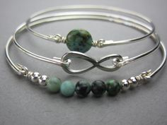 Silver Infinity and African Turquoise Bracelet Set by BaubleVine