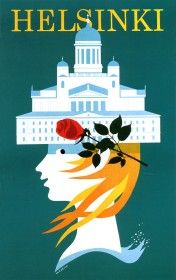Travel Poster - Helsinki - Finland - by Martti Mykkänen. Finland Travel, Pub, Travel Cards, Retro Illustration, Old Ads, Advertising Poster, Vintage Travel Posters, Helsinki, Illustrators