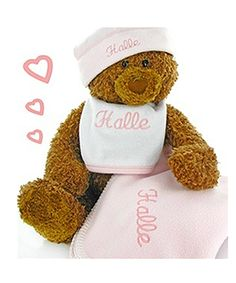 Cashmere Bunny Personalized Gund Bear Cutie Collectible Set - Pink - Give the little girl her first-ever stuffed animal along with a few other surprises! The Gund Bear Cutie Collectible Set - Pink comes BEARing gifts. Embroidered Baby Blankets, Fleece Baby Blankets, Baby Girl Blankets, Keepsake Baby Gifts, Unique Baby Gifts, New Baby Gifts, Baby Girl Gift Sets, Baby Gift Box, Personalized Baby Shower Favors