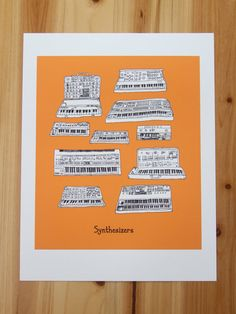 Synthesizer keyboard Illustration by JodiLynnDoodles on Etsy. JLB is the BEST