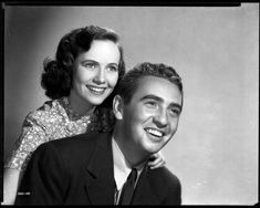 """Teresa Wright and Macdonald Carey in a publicity shot for Alfred Hitchcock's """"SHADOW OF A DOUBT"""" (1943)."""