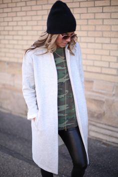 The Collaboration Blog: Street Style Swag: Camo + Leather  Grey Trench Coat > $29 @ Forever 21||  Camo Tee >$10  ||  Crooks & Castles Leather Pants > $29 on sale @ Community Service Boutique || Black Neff Beanie > $16 @ PacSun || Honey Comb Pendant Necklace > $22 online @ Ily Couture  || Rings > $1 @ H&M || Sunglasses > $8 @ H&M  #thecollabblog #streetstyleswag #ootd #style #denverblogger