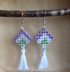 Paper Quilling Earrings, Paper Quilling Flowers, Paper Quilling Patterns, Quilling Paper Craft, Mini Hama Beads, Diy Perler Beads, Perler Bead Art, Fuse Beads, Melty Bead Patterns