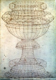 Paolo Uccello (1397-1475)  Perspective Study of a Chalice circa. 1450. Pen on Paper, 29 x 24 .5 cm, Uffizzi Gallery, Florence.