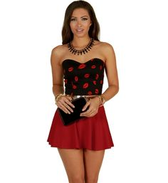 I love, love, LOVE this outfit!! Red Give Me Smooches Bustier at WindsorStore