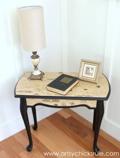 $5 Thrifty French Paper Decoupage Table Makeover - Done -artsychicksrule.com #decoupage #french