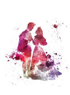 Sleeping Beauty, Aurora and Prince Phillip ART PRINT illustration, Disney, Princess, Dance, Home Decor, Nursery, Wall Art