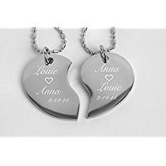 cd819c6733 Engraved Couple's Split Heart Tear Drop Shaped Silver Necklace Set  Personalized FREE - great Valentine's day