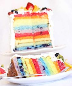 As opposed to most rainbow cakes, this one is actually colored (and flavored) by actual fruit. Cool!