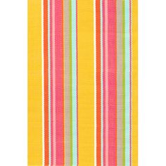 For the laundry room. Bright pink, yellow, and turquoise stripes deliver preppy cheer, $88 for 3'x5'