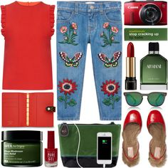Embroidered jeans by barbarela11 on Polyvore featuring polyvore, fashion, style, Mother of Pearl, Gucci, Spektre, Lancôme, Armani Beauty, Origins and Anatomicals